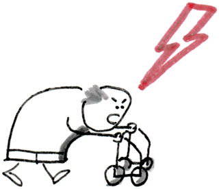 Alter Mann am Rollator der schimpft