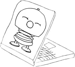 Ein Laptop mit einer Zeichnung auf dem Deckel