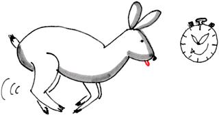 Ein Hase ist am Rennen