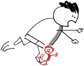 Ein Mensch stolpert über ein gestelltes Bein